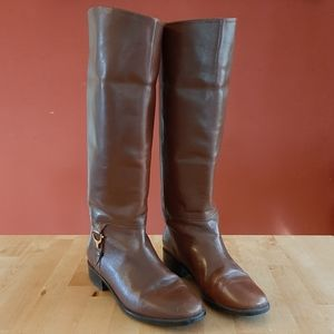 Etienne Aigner Derby Leather Equestrian Boots 6.5M